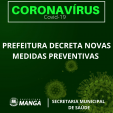 PREFEITURA DECRETA NOVAS MEDIDAS PREVENTIVAS CONTRA O NOVO CORONAVÍRUS