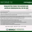 PREFEITURA DE MANGA REFORÇA ORIENTAÇÕES SOBRE O AUXÍLIO EMERGÊNCIA DE R$ 600