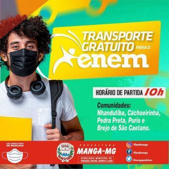 PREFEITURA DE MANGA OFERECE TRANSPORTE GRATUITO PARA PARTICIPANTES DO ENEM 2020