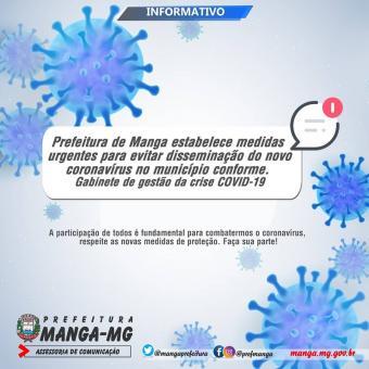 PREFEITURA DE MANGA ESTABELECE MEDIDAS URGENTES PARA EVITAR DISSEMINAÇÃO DO NOVO CORONAVÍRUS NO MUNI