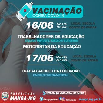 PREFEITURA DE MANGA AMPLIA VACINAÇÃO CONTRA A COVID-19 NESTA SEMANA E VACINARÁ TODOS OS TRABALHADORE