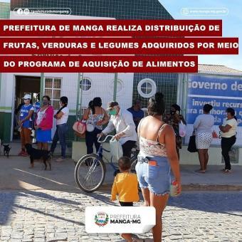 PREFEITURA DE MANGA REALIZA DISTRIBUIÇÃO DE FRUTAS, VERDURAS E LEGUMES ADQUIRIDOS POR MEIO DO PROGRA